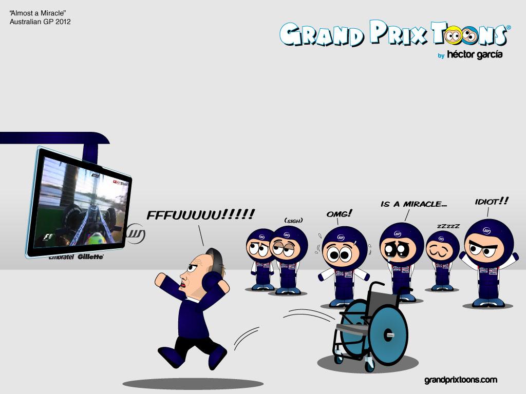 Фрэнк Уильямс встает с инвалидного креста после аварии Пастора Мальдонадо на последнем круге Гран-при Австралии 2012 - комикс Grand Prix Toons