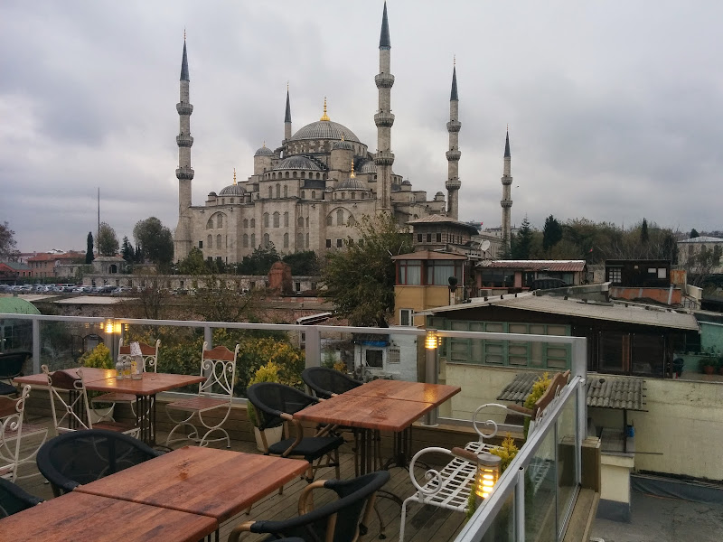 Sultanahmet Blue Mosque from a rooftop restaurant