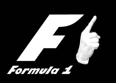 фотошоп логотип Формулы-1 с пальцем Себастьяна Феттеля
