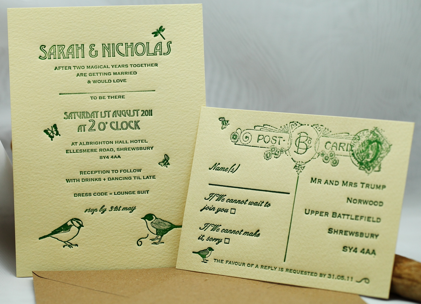 Artcadia wedding invitation letterpress with bird