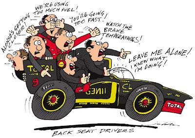 Кими Райкконен и механики Lotus - комикс Jim Bamber по Гран-при Абу-Даби 2012