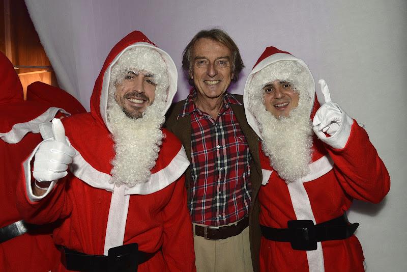 Лука ди Монтедземоло со своими пилотами Фернандо Алонсо и Фелипе Массой в Маранелло 16 декабря 2012