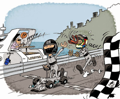 Нико Росберг впереди Льюиса Хэмилтона на финише - комикс Cirebox по Гран-при Монако 2014