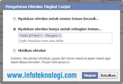 membuat status menjadi offline di chat / obrolan Facebook