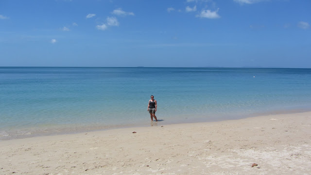 Clean white sand, crystal clear warm water, no waves, no crowds, and no beach merchants? Perfect!
