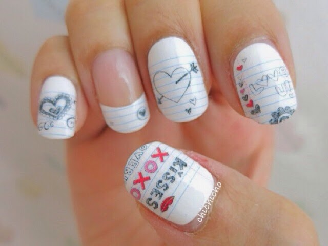 Back to school doodling on notebook nail wraps - chichicho~