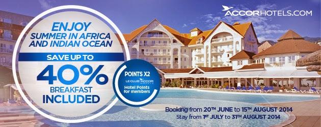 Accor雅高集團「Summer Offer」非洲酒店低至6折+雙倍積分!