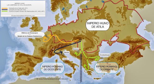 Las Campañas de Atila en Europa. Mapa de elaboración propia. ©www.historiadelascivilizaciones.com