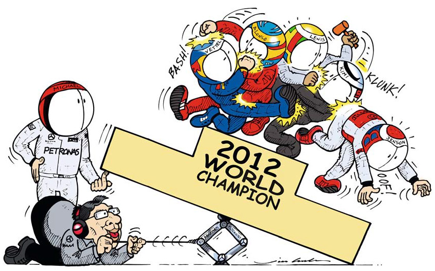Михаэль Шумахер и Росс Браун пытаются освободить место на чемпионском подиуме - комикс Jim Bamber