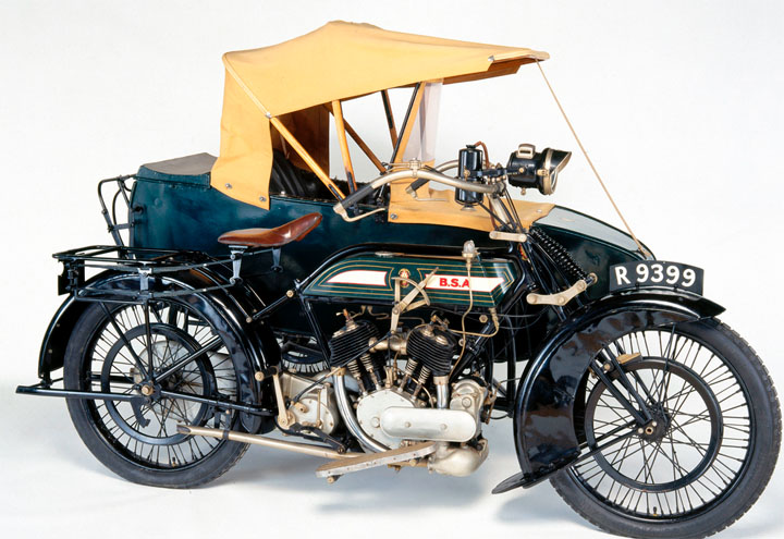 Good  top image BSA Birmingham Small Arms motorcycle with a sidecar via NMSI Museums