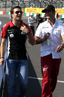 Жером Д'Амброзио и Витантонио Льюцци на параде пилотов Сузуки на Гран-при Японии 2011