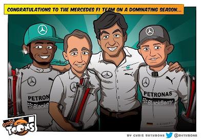 команда Mercedes доминирует в сезоне 2014 - комикс Chris Rathbone