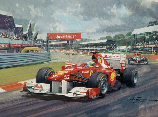 Фернандо Алонсо лидирует за Ferrari в Сильверстоуне на Гран-при Великобритании 2011 - картина Michael Turner