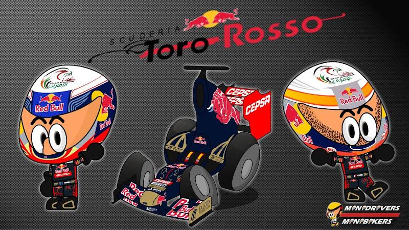 Toro Rosso STR7 и пилоты Даниэль Риккардо и Жан-Эрик Вернь - Los MiniDrivers 2012