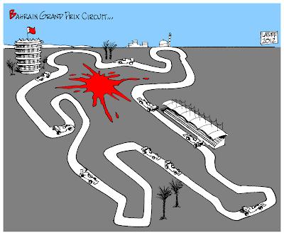 трасса Сахир - карикатура Carlos Latuff на тему Гран-при Бахрейна 2012