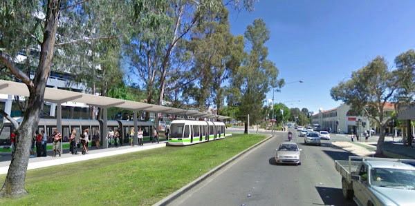 northbourne avenue with train station, artist's impression
