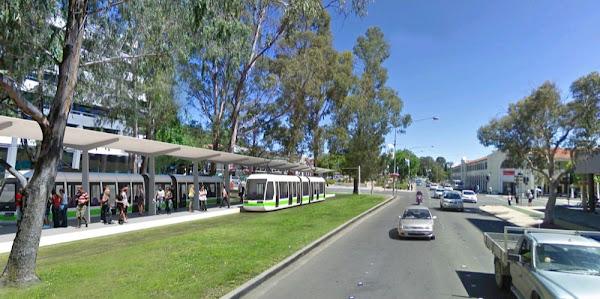 northbourne avenue with train station, artist's impression
