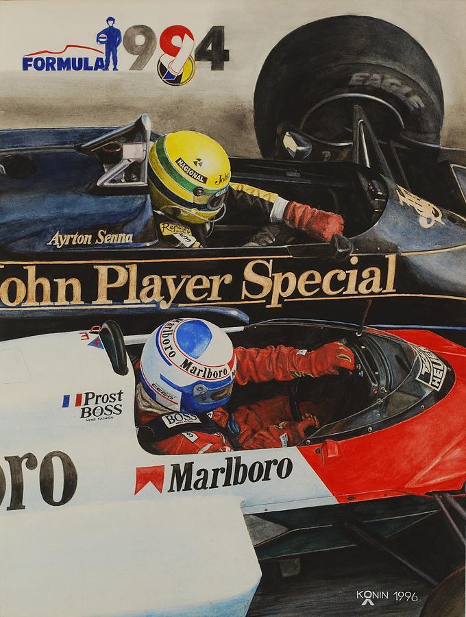 Айртон Сенна и Алан Прост на Lotus и McLaren - Битва Титанов - картина Олега Конина