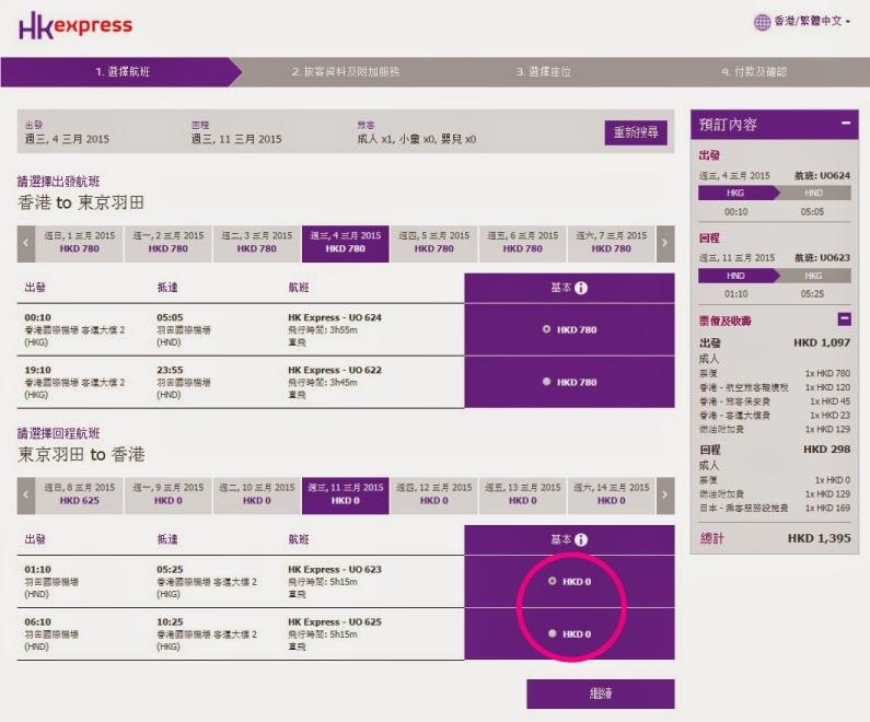HK EXPRESS 揀定去程航班,回程會顯示為$0