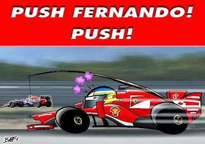 Фернандо Алонсо пытается догнать Себастьяна Феттеля - комикс Baffi по Гран-при Бельгии 2013