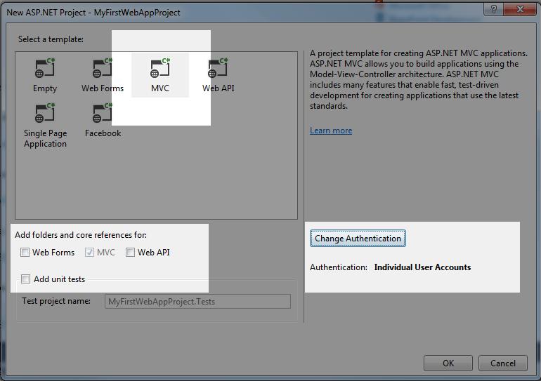 Select MVC Template