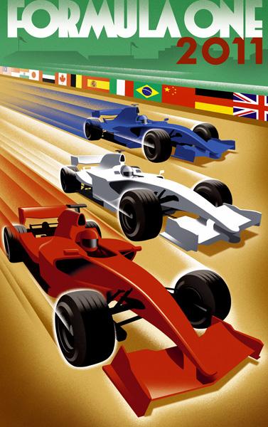 постер Формулы-1 сезона 2011 от Laurence Whiteley