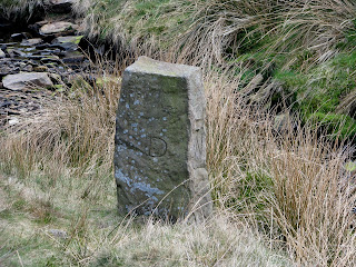 The first of many boundary stones - this one is above Ogden Clough