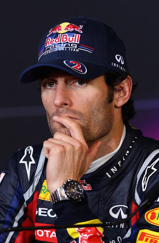 задумчивый Марк Уэббер на пресс-конференции после гонки на Гран-при Германии 2011