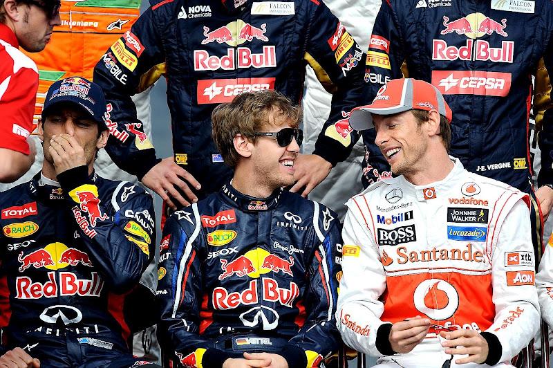 Марк Уэббер Баттон Себастьян Феттель Льюис на фотоссессии Гран-при Австралии 2012