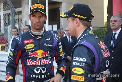 Марк Уэббер и Себастьян Феттель после финаша Гран-при Монако 2013