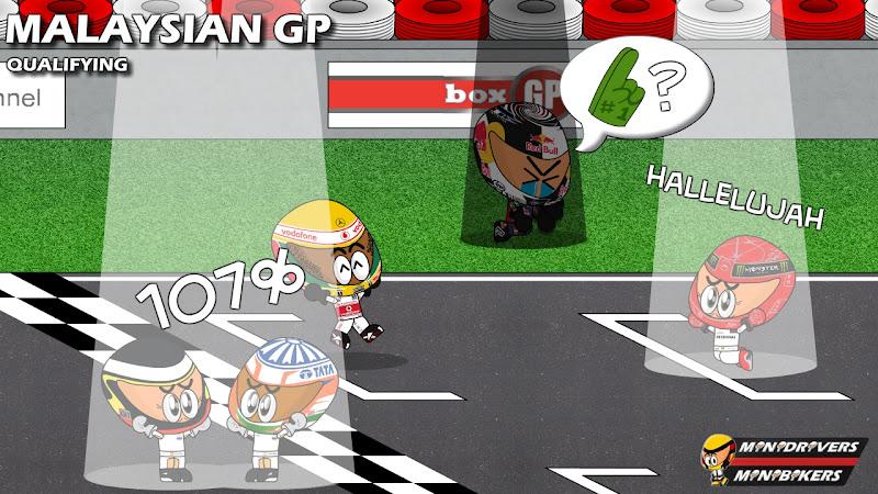 Педро де ла Роса и Нараин Картикеян преодолевают 107%, Льюис Хэмилтон на поуле, Себастьян Феттель далек от поула, Михаэль Шумахер третий - квалификация на Гран-при Малайзии 2012 от Los MiniDrivers