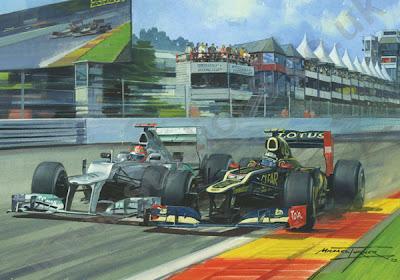 Кими Райкконен и Михаэль Шумахер бок о бок на Гран-при Бельгии 2012 - картина Michael Turner