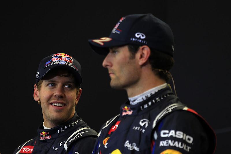 Себастьян Феттель и Марк Уэббер на пресс-конференции после квалификации на Гран-при США 2012