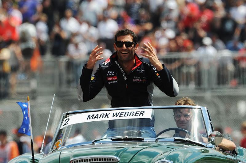 Марк Уэббер во время парада пилотов Гран-при Канады 2013