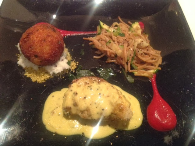 Delicious monkfish and crab croquette with vermicelli