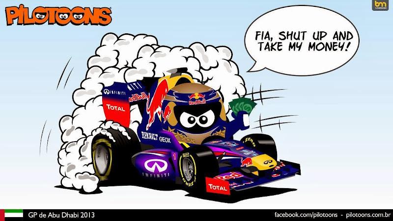 Себастьян Феттель предлагает деньги FIA - комикс pilotoons по Гран-при Абу-Даби 2013