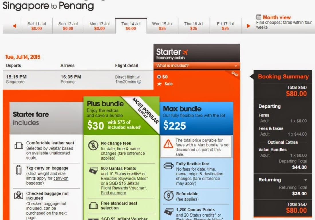 新加坡飛檳城SGD $0,連稅SGD$80