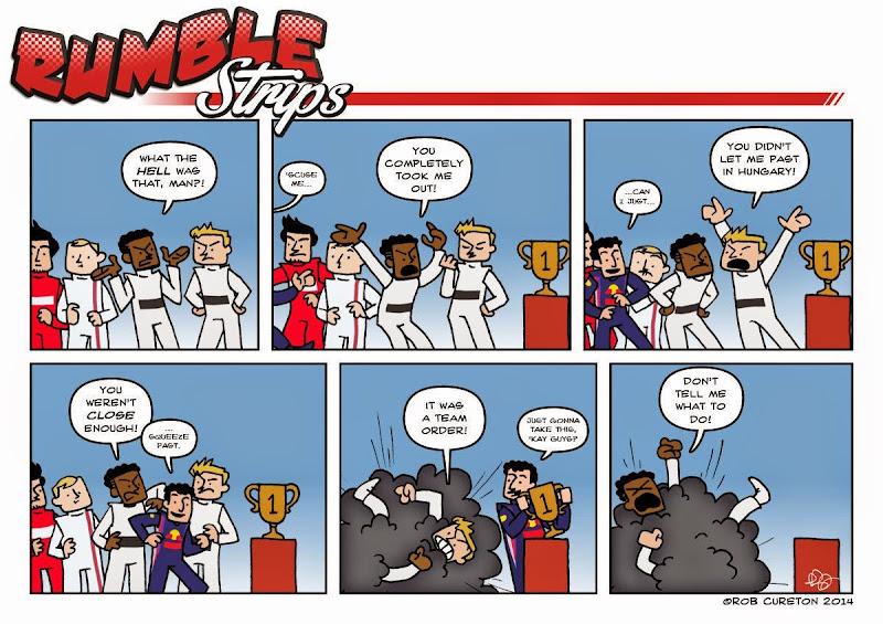 Даниэль Риккардо проходит мимо Льюиса Хэмилтона и Нико Росберга - комикс Rumble Strips по Гран-при Бельгии 2014