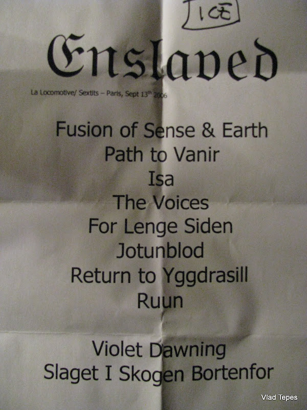 Enslaved Set-list @ La Loco, Paris 13/09/2006