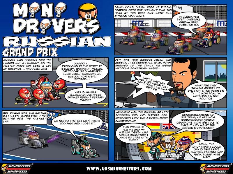 комикс MiniDrivers по гонке на Гран-при России 2014
