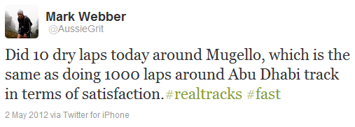 Марк Уэббер в твиттере о трассе в Муджелло