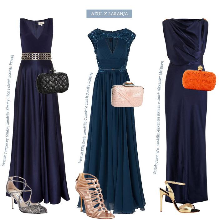 Sandalia para vestido azul escuro