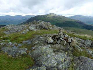 Grren Crag summit looking to Harter Fell.