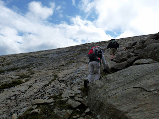 Climbing up The Great Slab - Bowfell