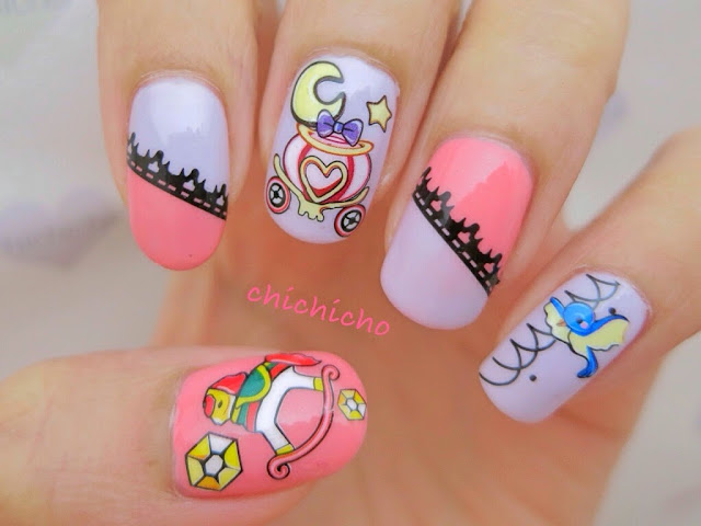 Children's Book Water Decal Nail Art bambi cinderella beauty and the beast mother goose