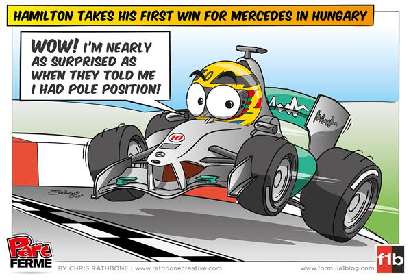 Льюис Хэмилтон одерживает первую победу за Mercedes на Гран-при Венгрии 2013 - комикс Chris Rathbone