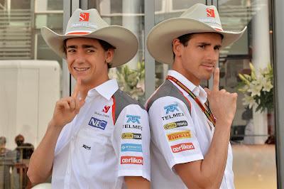 Эстебан Гутьеррес и Адриан Сутиль в ковбойских шляпах от Марио Андретти на Гран-при Италии 2014