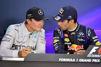 Нико Росберг и Даниэль Риккардо на пресс-конференции после гонки на Гран-при Канады 2014
