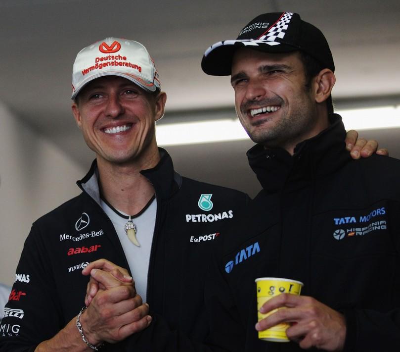 Михаэль Шумахер и Витантонио Льюцци на Гран-при Венгрии 2011