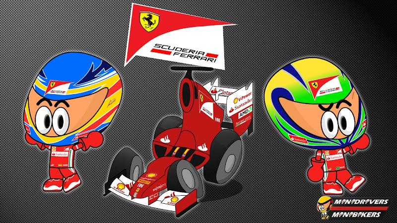 Ferrari F2012 и пилоты Фернандо Алонсо и Фелипе Масса от Los MiniDrivers